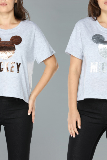 Mickey Mouse Sequin Detail Round Neck T-Shirt