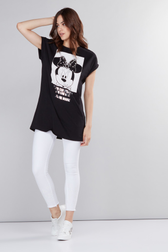 Minnie Mouse Printed Longline T-Shirt with Round Neck