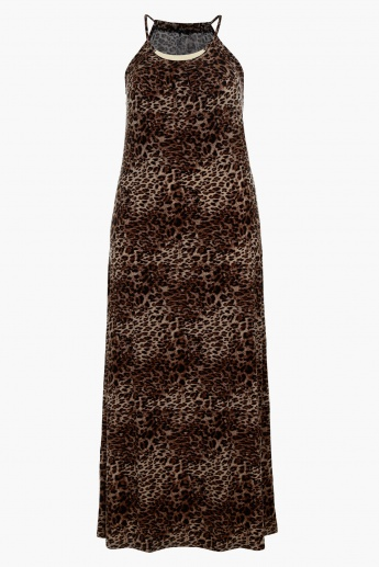 Animal Print Maxi Dress with Halter Neck