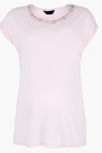 Embellished Top with Round Neck and Short Sleeves