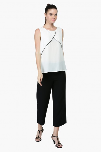 Sleeveless Top with Round Neckline
