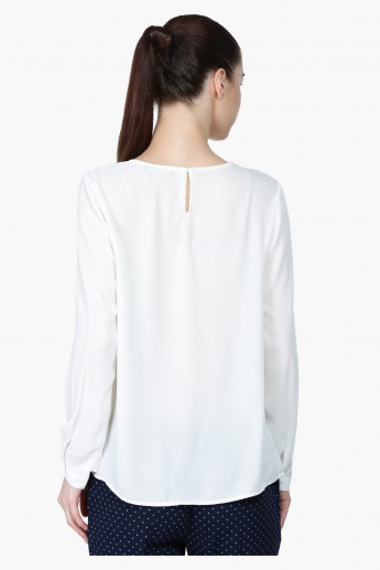 Long Sleeves Top with Embellished Neck