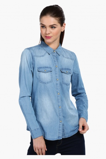 Long Sleeves Shirt with Flap Pockets
