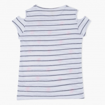 Cold Shoulder Striped T-Shirt