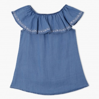 Embroidered Frill Neck Top