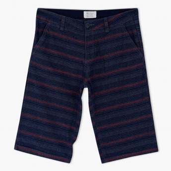 Striped Shorts with Buttoned Closure