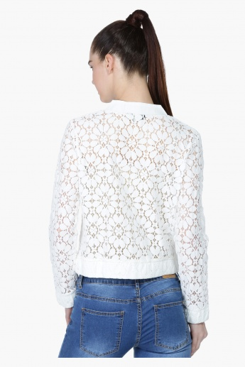 Long Lace Sleeves Bomber Jacket