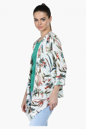 Floral Print Asymmetrical Shrug with Open Front