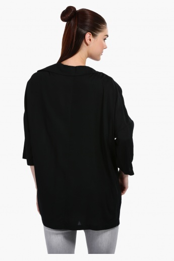 3/4 Sleeves Shrug with Pocket Detail