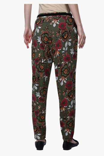 Printed Harem Pants with Elasticised Waistband
