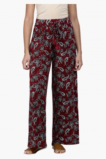 Paisley Print Palazzo Pants with Drawstring