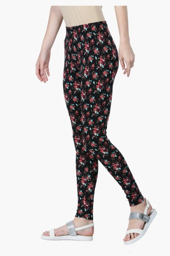 Floral Print Leggings in Slim Fit