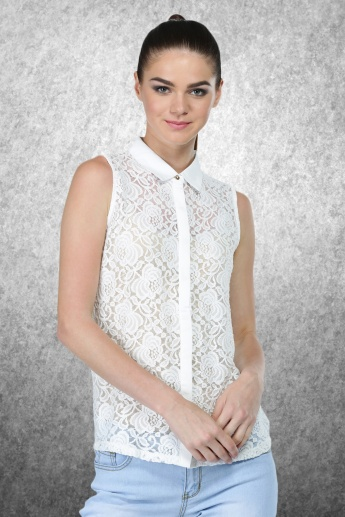 Sleeveless Lace Shirt