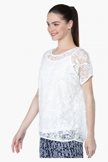 Textured Short Sleeves Round Neck Top