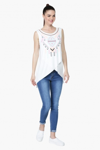 Printed Cross Over Sleeveless Top