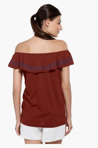 Textured Off Shoulder Top with Embroidery