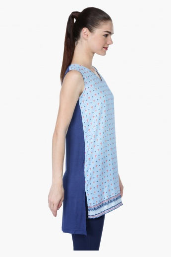 Printed Sleeveless Tunic with High-Low Hem and V-Neck