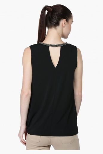 Sleeveless Top with Embellished Neck Trim