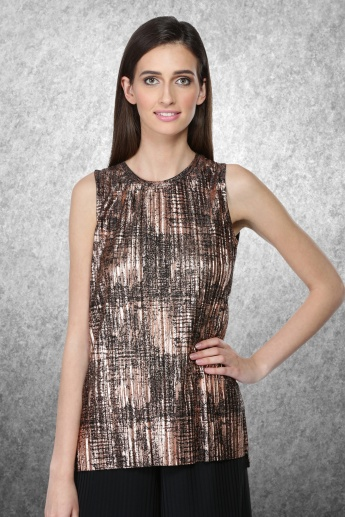Printed Sleeveless Top with Round Neckline