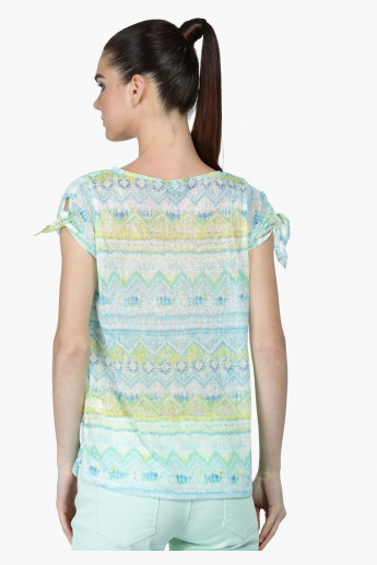 Printed Top with Boat Neck and Short Sleeves