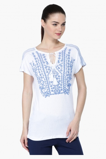 Printed Short Sleeves Peasant Top