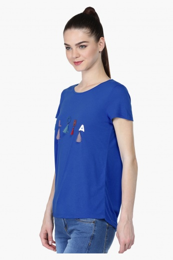 Printed Short Sleeves T-Shirt with Tassels
