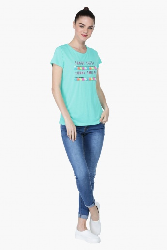 Embroidered Short Sleeves T-Shirt with Fringes