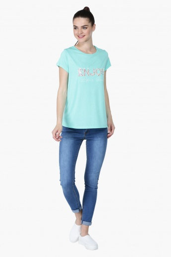 Sequin Embellished Round Neck Short Sleeves T-Shirt