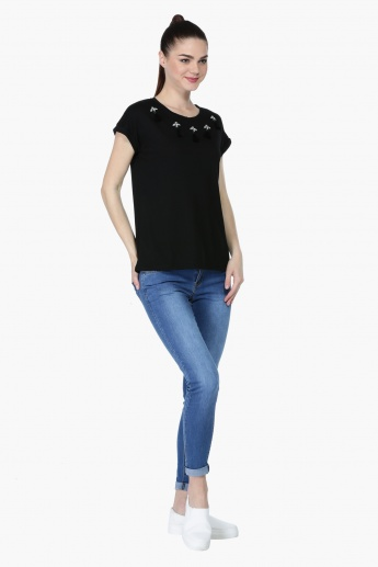 Stud Embellished Short Sleeves T-Shirt with Tassels