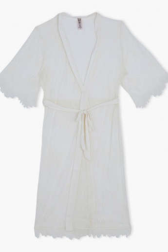 Textured Robe with Tie Ups