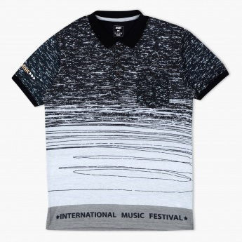 Printed Polo Neck T-Shirt with Patch Pocket