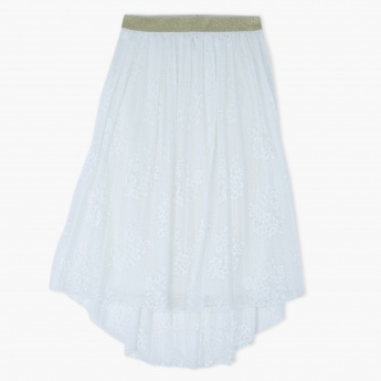 Pleated High Low Hem Skirt with Elasticised Waistband