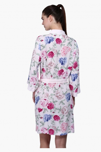 Printed Long Sleeves Robe with Tie Up