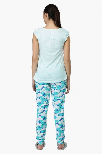 Printed T-Shirt and Pyjama Set