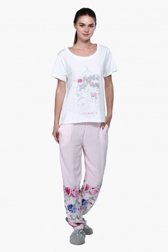 Printed Short Sleeves Pyjama Set