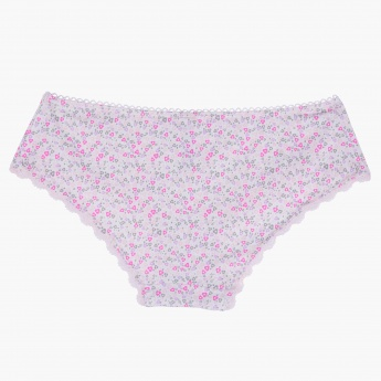 Printed Bikini Briefs with Lace Detail