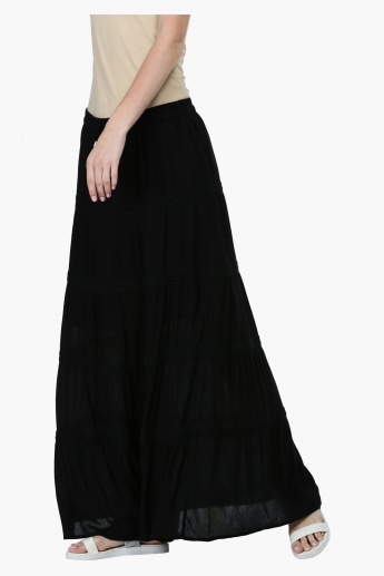 A-Line Maxi Skirt with Lace Detail
