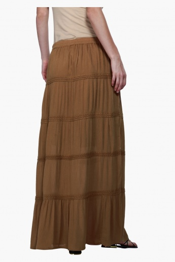 A-Line Maxi Skirt with Lace Detailing