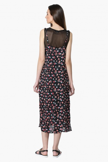 Printed Sleeveless Dress with Round Neckline