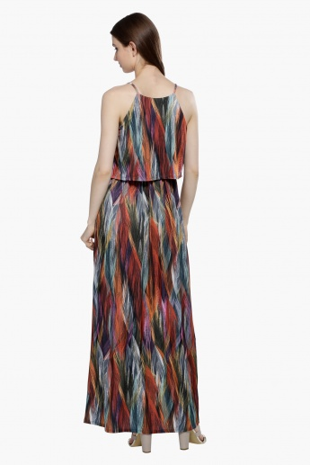 Printed Layered Maxi Dress with Spaghetti Straps