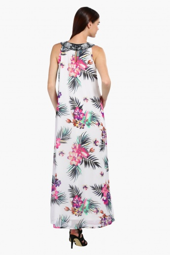 Printed Sleeveless Maxi Dress with Round Neck