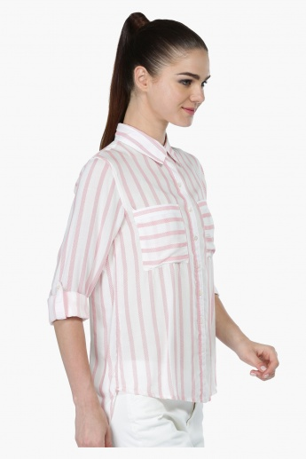 Striped Oversized Woven Shirt
