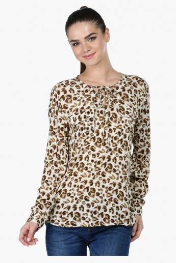 Animal Print Long Sleeves Top with Patch Pockets