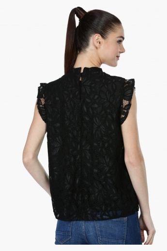 Lace Top with Cap Sleeves