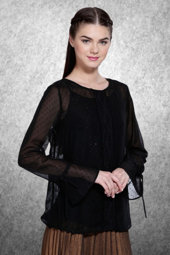 Printed Roll-Up Sleeves Top with Button Tabs