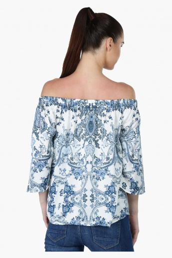 Floral Print Off Shoulder Top with 3/4 Sleeves