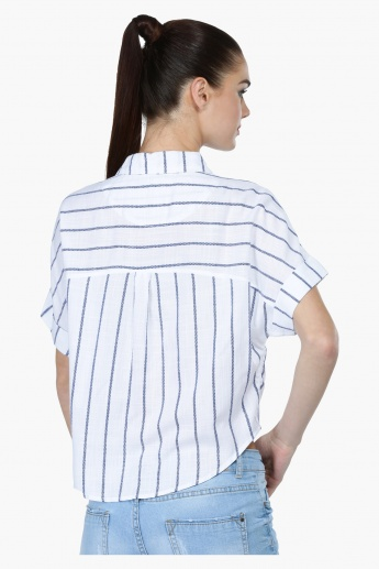 Striped Crop Shirt with Patch Pocket and Tie Ups