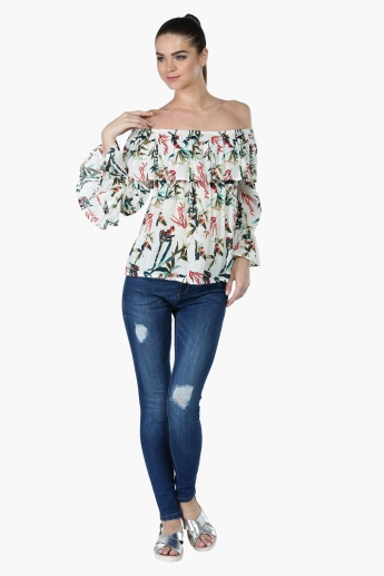 Floral Print Off Shoulder Top with Bell Sleeves