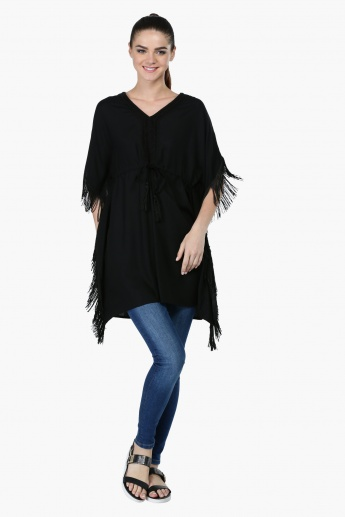 Tie-Up Poncho Tunic with V-Neck