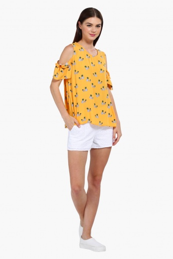 Pineapple Print Cold Shoulder Top